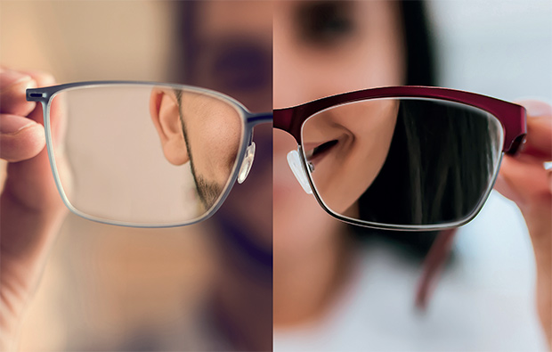 A blurred image looks clear through the glasses lens