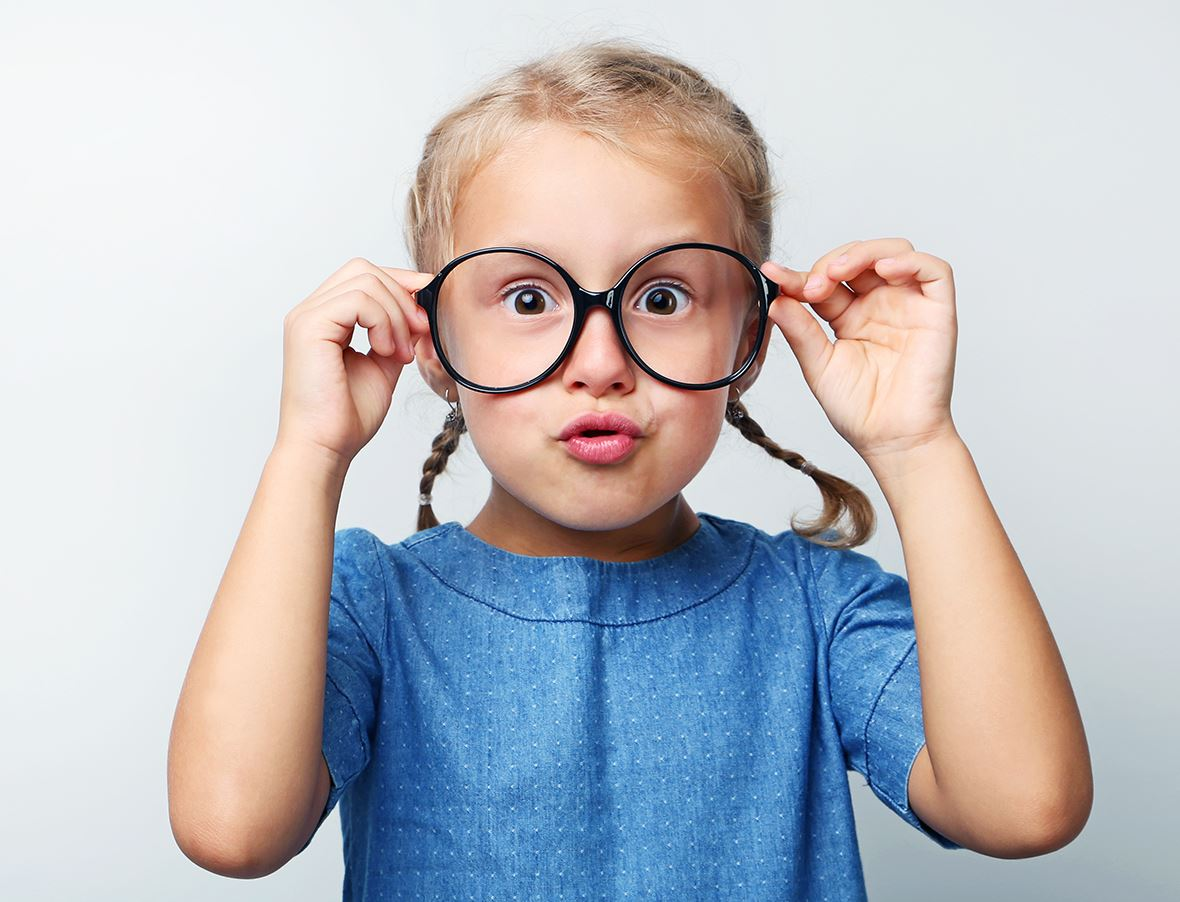 Young girl wearing glasses