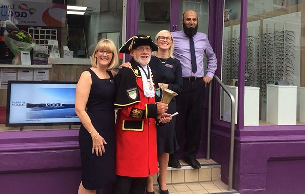 The Bayfields Clitheroe team with the town cryer