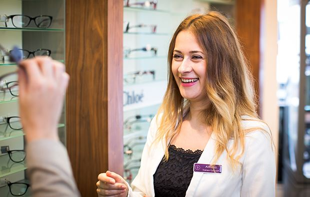 A Bayfields Dispensing Optician helping a client