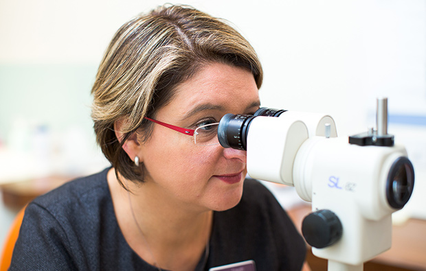 Optometrist providing a Bayfields eye test